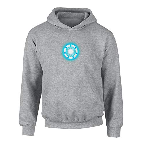 shirtdepartment - Kinder Hoodie - Arc Reactor - Stark grau-Cyan 98-104
