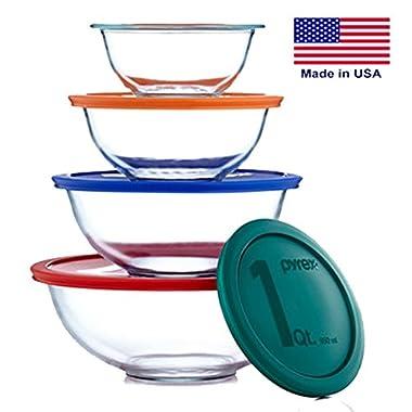 Pyrex Smart Essentials Mixing Bowl Set Including Locking Lids (Clear), 8 piece