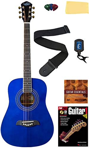 Oscar Schmidt OG1FYS 3/4-Size Kids Learn-to-Play Acoustic Guitar Bundle w/Gig Bag, Strings, Tuner, Strap, Picks, Book, Capo, DVD, and Austin Bazaar Polishing Cloth - Flame Yellow Sunburst