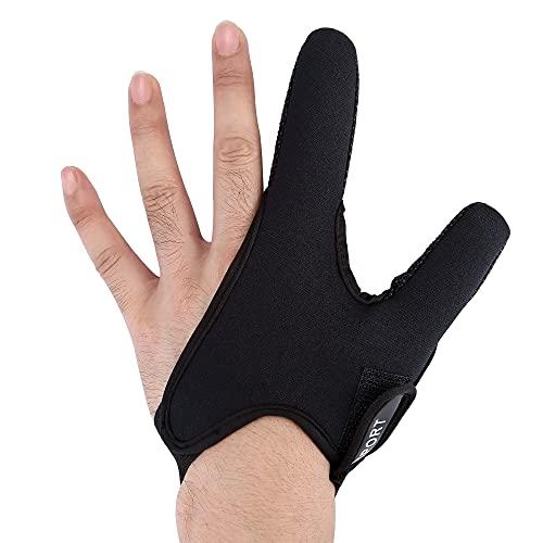 Faletony Guanti da pesca con doppia protezione per le dita dei guanti da pesca, protezione professionale, accessori elastici per la pesca all'aria aperta (mano sinistra nera)