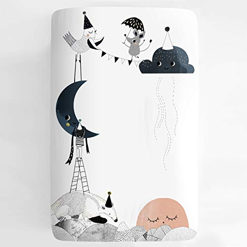 Mini Crib Sheet, Pack n Play or Playard Crib Sheet by Rookie Humans: 100% Cotton Sateen. Use as a Photo Background for Your Baby Pictures. Fits Mini Crib Size (38x24 inches) (Moon's Birthday)