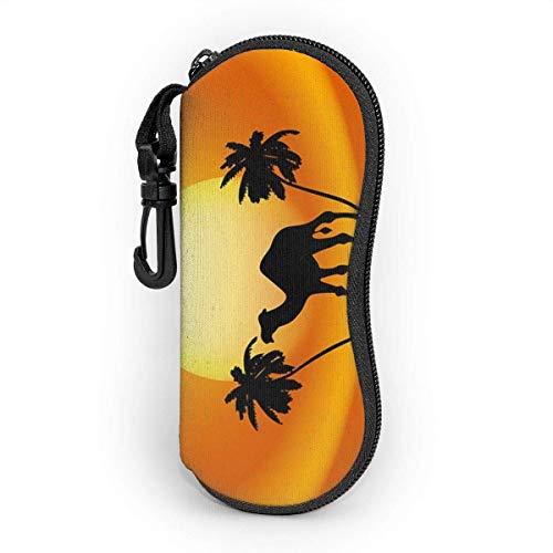 ARRISLIFE Desert Camel Waterproof and Durable Sunglasses Estuche para anteojos Portable Zipper Neoprene Estuche de almacenamiento de gafas with Mosquetón