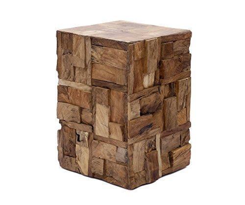 Brillibum Design Mosaik Tisch aus Holztücken Couchtisch Treibholz Beistelltisch eckig Sizhocker oder Blumentisch Blumenhocker Holz massiv Teakholz Tisch quadratisch 45 x 30 x 30 cm (H x B x T)