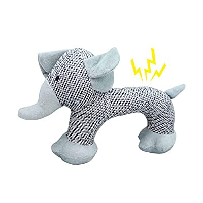 Andiker Dog Squeaky Toys, Durable Stuffed Dog Plush Toy, Soft Dog Chew Toy Elephant Shape, Interactive Dog Training Toys for Puppy, Small and Medium Dogs