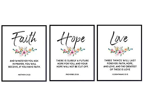 Religious Christian Wall Art Decor - Inspirational Faith, Hope, Love Bible Verse Wall Art - Scripture Wall Decor Signs - Home Decorations for Kitchen, Living or Dining Room, Bedroom - Unique Gift