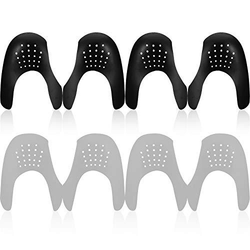 Mudder 4 Paar Schuhe Falten Schutz Zehe Box Abnehmer, Verhindern Sport Schuhe Falte Vertiefung für Herren 7-12/ Damen 5-8 (Schwarz, Grau)