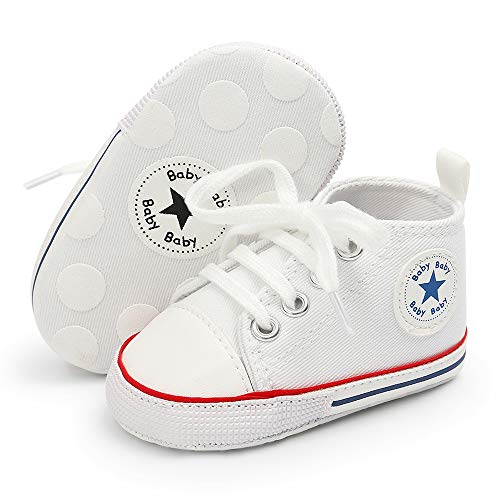 Baby Girls Boys Canvas Shoes Soft Sole Infant High-Top Ankle Sneakers Newborn Crib Shoes Toddler First Walkers (White1,0-6 Months)