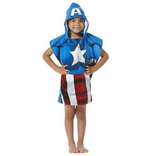 Marvel Serviette de bain Poncho à capuche Avengers pour enfants – Captain America