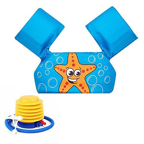 ZMYANG 1 a 6 años Chaleco de natación para niños pequeños con Herramienta Inflable de Pedal,Chaleco de Seguridad para Entrenamiento de natación para niños pequeños con brazaletes Correa Ajustable