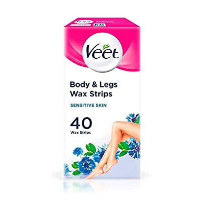 Veet Wax Strips for Sensitive Skin for Body and Legs, 20 Double Sided Strips, Pack of 40 by Reckitt Benckiser