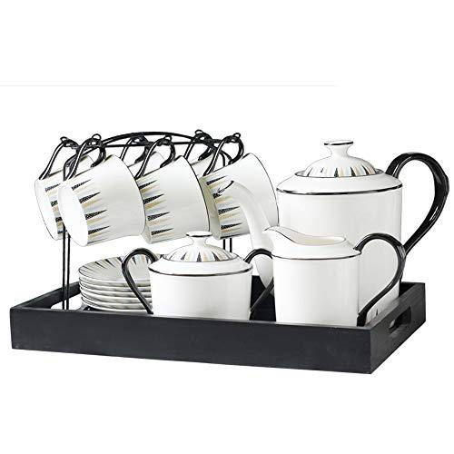 ufengke 15 Piece European Ceramic Tea Sets,Bone China Coffee Set with Metal Holder and Tea Tray,Polish Style Balck Handle