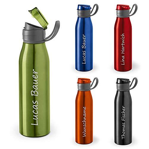 polar-effekt Personalisierte Trinkflasche mit Namen 650 ml Farbe hellgrün - Auslaufsichere Aluminium Wasserflasche LASERGRAVUR - Geschenk-Idee für Kinder, Schule, Sport, Outdoor, Fitness, Camping