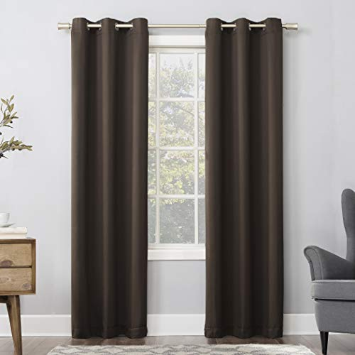 """Sun Zero Easton Grommet Curtain Panel, 40"""" x 84"""", Cocoa Brown"""