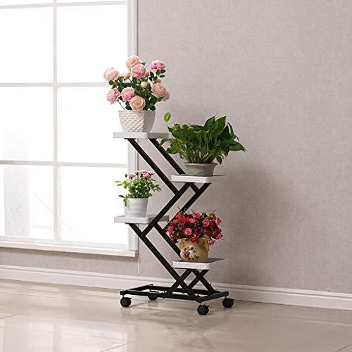 Support de fleur en métal Support à fleurs Poulie 4ème étage Fer multicouche intérieur Atterrissage Économie de l'espace Salon des étagères à fleurs (Couleur : A4)