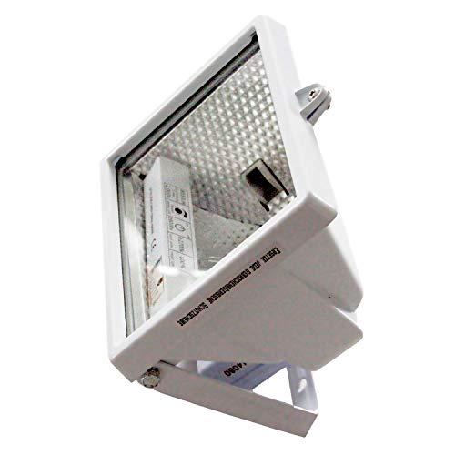 as - Schwabe Halogenstrahler - 400 W Halogen-Fluter geeignet als Baustrahler/Arbeitsleuchte – Energieklasse C - Halogenspot inklusive Leuchtmittel - Leuchte für den Außenbereich - Weiß I 44061