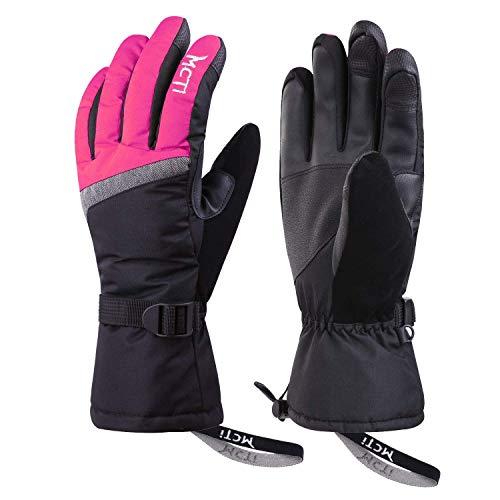 Kineed Skihandschuhe Damen Touchscreen Winterhandschuhe Wasserdicht Snowboardhandschuhe Winter Warm Schnee Handschuhe Winddicht 3M Thinsulate Rosa S