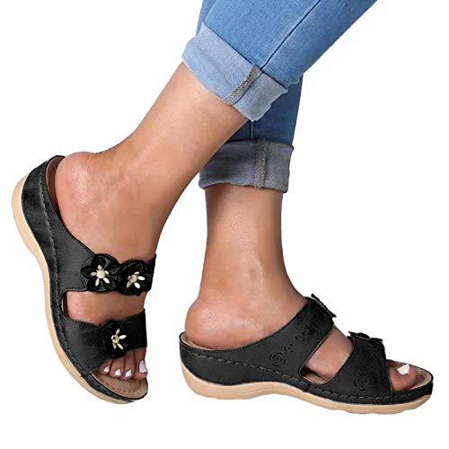 BIBOKAOKE Sandalias elegantes para mujer, sandalias de verano, con flores, brillantes, sandalias planas, para interior y exterior, cómodas sandalias para el tiempo libre