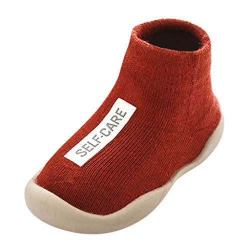 Calzado Casual Infantil Zapatos De Goma Antideslizantes Calcetines De Punto Zapatos De Casa OtoñO Nuevas Botas Desnudas Zapatos para BebéS Y NiñOs ReciéN Nacidos Zapatos De Primer Paso(Rojo,21EU)