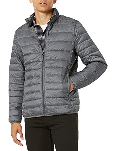 Amazon Essentials Men's Lightweight Water-Resistant Packable Puffer Jacket, Charcoal Heather, Large