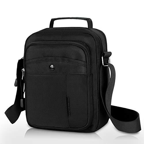 Lotisie - Bolsos de hombro para hombre, con bolsillos traseros antirrobo, para tablet PC, bolso bandolera, bolso para el trabajo, escuela, color negro