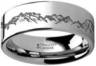 Peaks Mountain Range Outdoors Ring Engraved Flat Tungsten Ring - 8mm