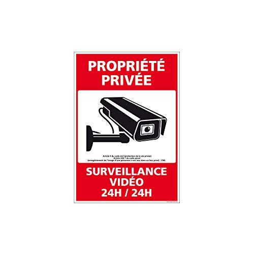 Adhésif - Propriété Privée sous Vidéo Surveillance 24h/24h - Dimensions 150 x 210 mm - Protection Anti-UV
