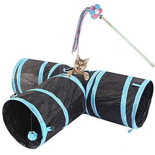 Haoyigou Feline Ruff Premium 3 Way Cat Tunnel. Cat Interactive Toy Kitten Tricolor Balls Fairy Stick Teaser Wand with Bells and Tasse .Wide Pet Tunnel Tube for Other Pets Too!