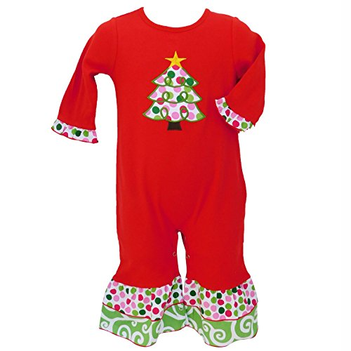 AnnLoren Boutique Baby Girls Christmas Romper Red Polka Dot Tree Infant Holiday Onesie Toddler Clothing sz 6-12 mo