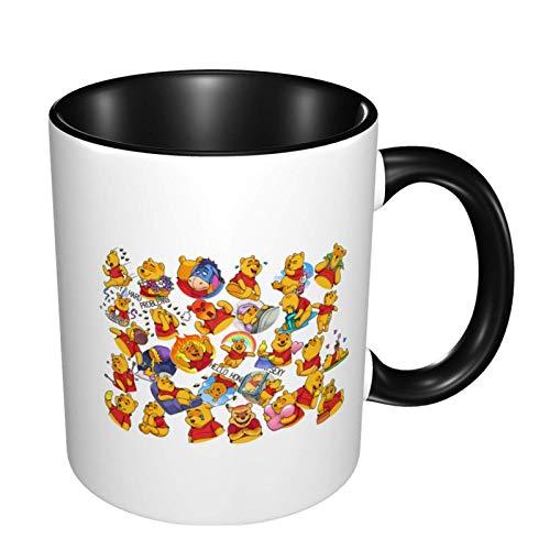 Hdadwy Winnie the pooh Tazas de café, Tazas de cerámica Tazas de té para oficina y hogar, Negro