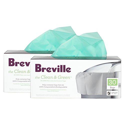 Breville Clean and Green Beutel für Entsafter, biologisch abbaubar, 60 Stück