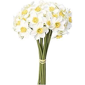 RTWAY 12pcs Artificial Flowers, 15.7 inch Artificial Narcissus Flower Bouquet, Spring Fake Flower Stems, Flower Arrangement for Home Wedding Party Ornament Photo Props Decor