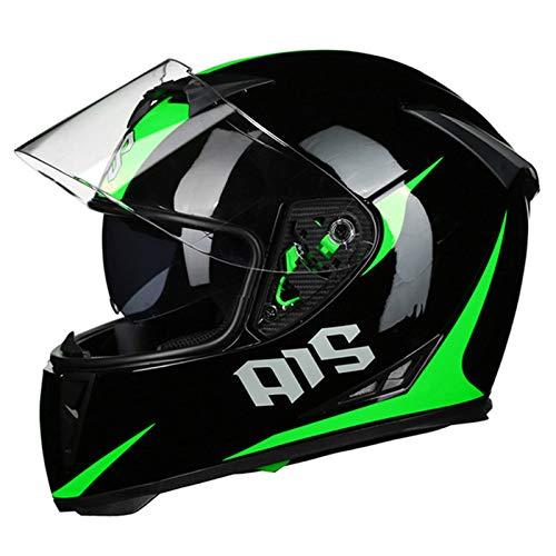 HVW Casco de Motocicleta, Certificado por Dot/ECE Casco de protección Integral de Calle Modular con Doble Visera de ventilación, ciclomotor, Scooter, Casco Integral de Motocross,A,XL60to61cm