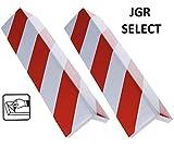 JGR SELECT 2 Unidades Protector Garaje Esquina Paragolpes Para Puerta de Coche Adhesivo - Para Columnas, Parking, Garaje – 40 * 15 cm – Rojo y Blanco