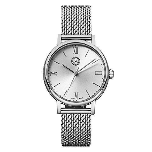 Mercedes Benz Original Damen Armbanduhr Edelstahl Classic Lady Silber