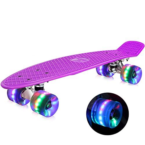 Buyi world Skateboard komplett 55 cm Mini Cruiser Skateboard für Kinder Jungen Mädchen Jugendliche Erwachsene Anfänger, Retro-Skateboard, ABEC-7 Kugellager, LED-Blitzräder mit All-in-One Skate T-Tool