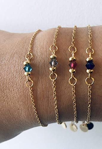 Bracelet femme Swarovski gourmette pierre naturelle et perles Heishi plaqué or 24 k, bracelet doré, idée cadeau, bracelet Swarovski, bijoux cadeaux, bijou femme or