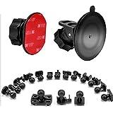 SoeKoaドライブレコーダー 吸盤 マウント および接着剤マウント360度回転 吸盤式 ホルダー ブラケット、16つ異なるアダプタ付け、VANTRUE、Silintion、APEMAN、YI、Anero、Chortau、MILKFAT、Muson、2 x接着剤両面接着テープ、3 xワイプ(乾湿両方)