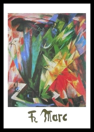 Germanposters Franz Marc Poster Kunstdruck Bild Vögel 70x50cm mit Alu Rahmen in schwarz