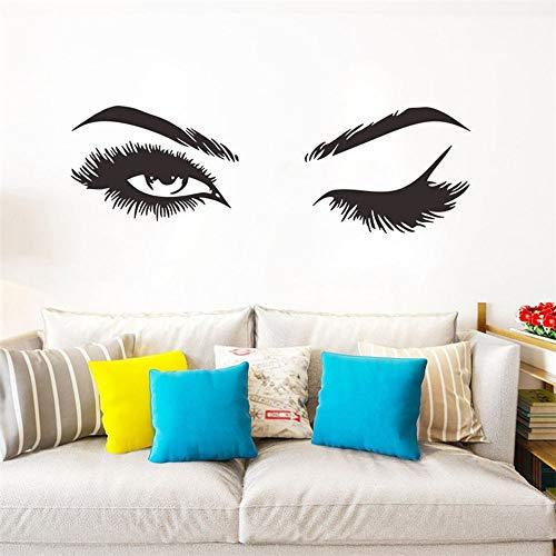 ASFGA Coole Wimpern und Augenbrauen Augenwandaufkleber Mode Vinyl Wimpern Wandaufkleber Mädchen Schlafzimmer Augenbrauen Shop Schönheitssalon Dekoration Studio 21x66cm