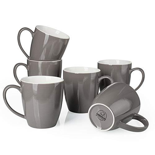 Mugaholics Coffee Mug Set - 16 Ounce Ceramic Coffee Mug Set with Handle - Corrugated Tea Mugs - Large Coffee Mugs for Coffee, Tea, Cocoa, Cappuccino, Latte, Brown Coffee Mugs Set of 6, Brown M-614