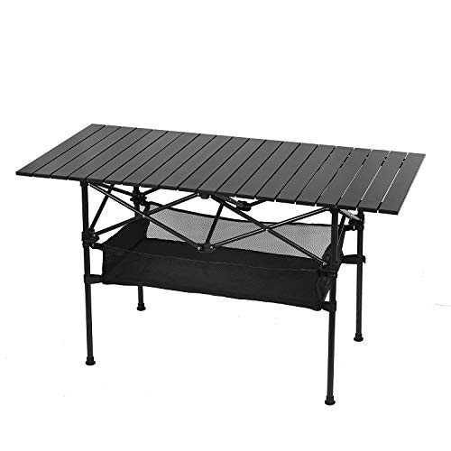 Outdoor Folding Camping Table, Portable Aluminum Folding Table with Large Storage Organizer and Carrying Bags, Collapsible Beach Table for Outdoor Camp, Picnic, BBQ, Travel, Fishing