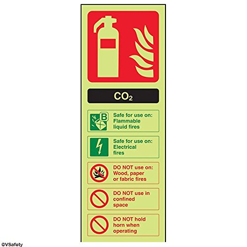 vsafety 11004 hamer/hamer aj-g brandblusser schild, CO2 ID, Glow in the Dark 1 mm kunststof, portret, 100 mm x 280 mm, zwart/groen/rood
