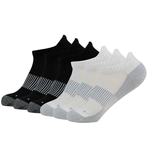 FOOTPLUS Men Women Boys Girls Bicycle Ankle Arch Support Seamless Toe Cushioned Sole Copper Golf Socks Gift for Him, 3 Black& 3 White, Medium