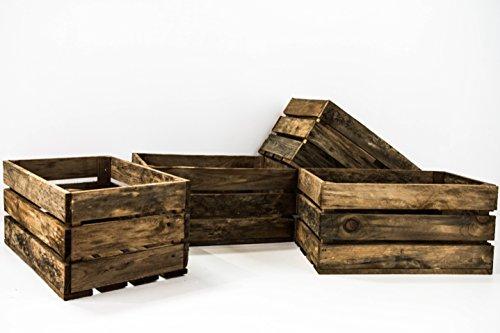 Set de 4 Cajas de Fruta Sam, Madera, Marrón, Envejecido, 49x31x24cm, 4 Unidades. Incluye Imán Personalizable de Regalo.