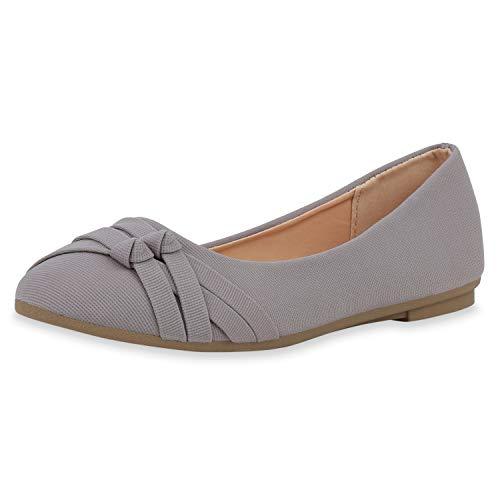 SCARPE VITA Damen Klassische Ballerinas Stoff Schuhe Flats Basic Slipper Slip Ons 181411 Grau 39