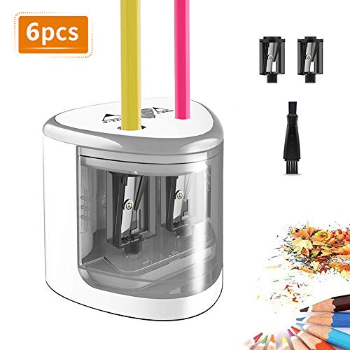TOPERSUN Elektrischer Anspitzer 6pcs automatischer Bleistiftspitzer elektrisch für Kinder 6-12mm Doppellöcherdesign mit 4 Klingen für Büro Klassenzimmer und Zuhause