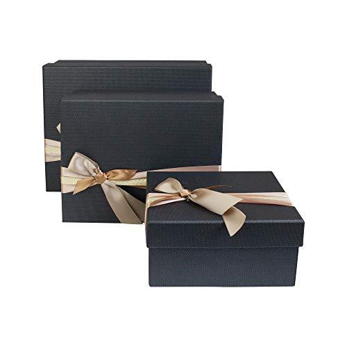 Emartbuy Set von 3 Starre Luxus Präsentierte Geschenkbox in Rechteckform, Schwarz strukturiert Box mit Deckel, Innenseite Bedruckt und Gold Beige Satin Zierband