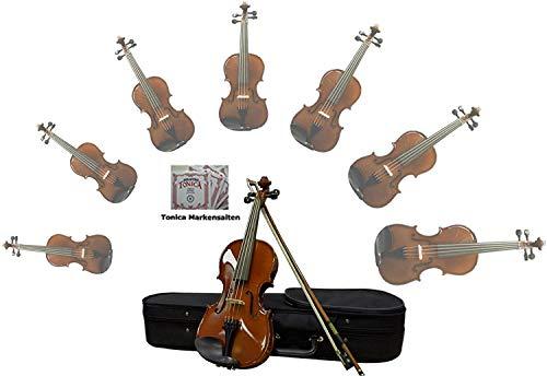 Sinfonie24 Geige Violin Set Größe 4/4, Hamburger Geigenbau Manufaktur, lebhafter, warmer, runder Klang, (Basic II) Koffer, Bogen, Kolophonium, palisanderfarbend, mit Markensaiten, akustisch