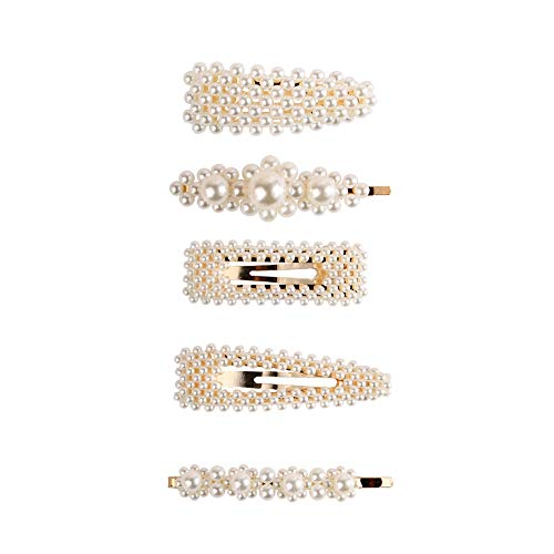 niumanery 5 Pcs Sweet Girls Hairpins Artificial Pearl Hairpin Set BB Clip Word Side Clip Hairstyle Decoration Jewelry Gift