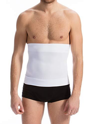 Farmacell Man 405BS (Blanco, M) Banda Abdominal Faja Elástica de Contención y Modeladora Hombre cinchas posteriores Anti-Enrollado